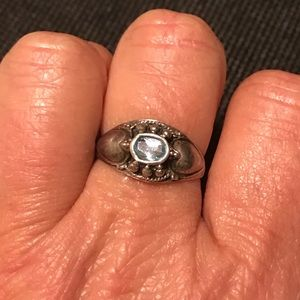 925 Silver and Aquamarine Ring